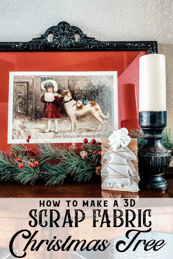 How to make a 3D scrap fabric Christmas Tree Craft. This idea is also a great scrap wood project for winter home decor. An easy craft to make a ton of for your Christmas table, holiday decor or a great teacher gift! #scrapfabricproject #giftidea #DIYholidaydecor