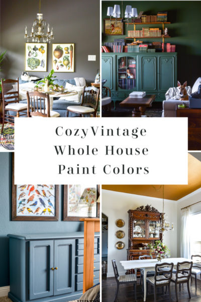 Grab a list of cozy vintage interior paint colors for your whole home here. These fresh color selections for 2020 will add deep, warmth, style and patina to your new or old home. They are bold colors with a worn feel, perfect for layering your vintage style, farmhouse style or cozy eclectic style on top of. #2020paintcolors #interiorpaintselection #sherwinwilliams #bestsherwinwilliamscolors #cozyhome