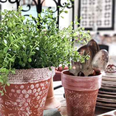 DIY Painted Terracotta Pots with a Shabby Chic Feel