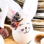 This easy Easter craft if fun to do with kids or as elegant farmhouse Easter decor. Make Easter Bunny eggs. Simple spring craft idea that only take a few supplies from the Target dollar spot or the dollar store! #eastercraft #dollartreecraft #Easterdecor #craftwithkids