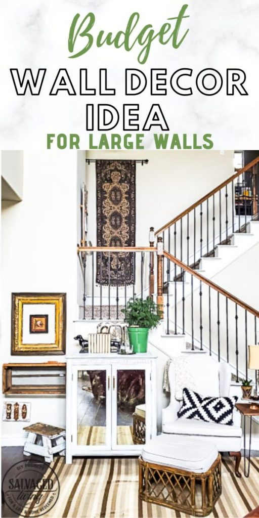 Looking for an affordable way to fill up a two story wall in your living room or a budget idea for a large wall in your home? I have the perfect solution!This idea is easy to DIY and there is a SUPER budget tip in here you have to try, perfect for a stylish wall hanging in a large space. #wallart #budgetdecor #fivebelow #discountdecor