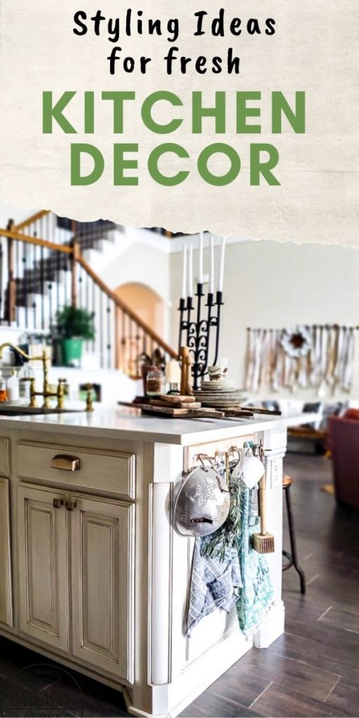Get styling ideas for your kitchen with this wood peg rack decorating idea. This inexpensive coat rack adds so much to this kitchen with a mix of vintage farmhouse style and modern typography. You can decorate your kitchen with small vignettes filled with kitchen decor you love. The perfect way to add some style to your kitchen decor. #kitchendecoridea #vintagestyle #stylingideas #cozykitchen