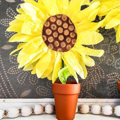 DIY Paper Sunflowers Mantel