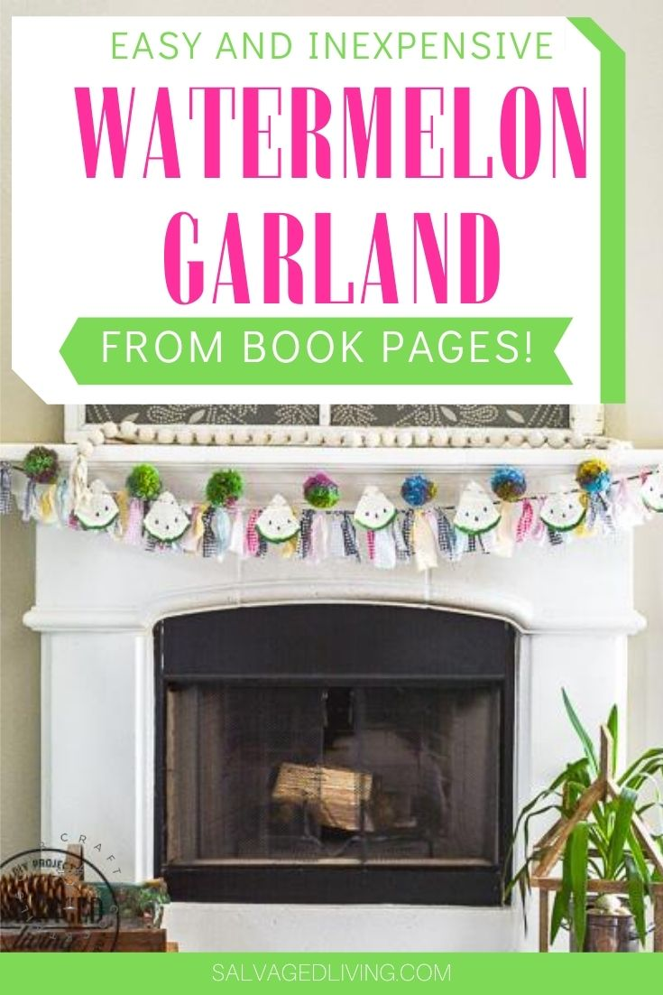 DIY watermelon garland from old book pages