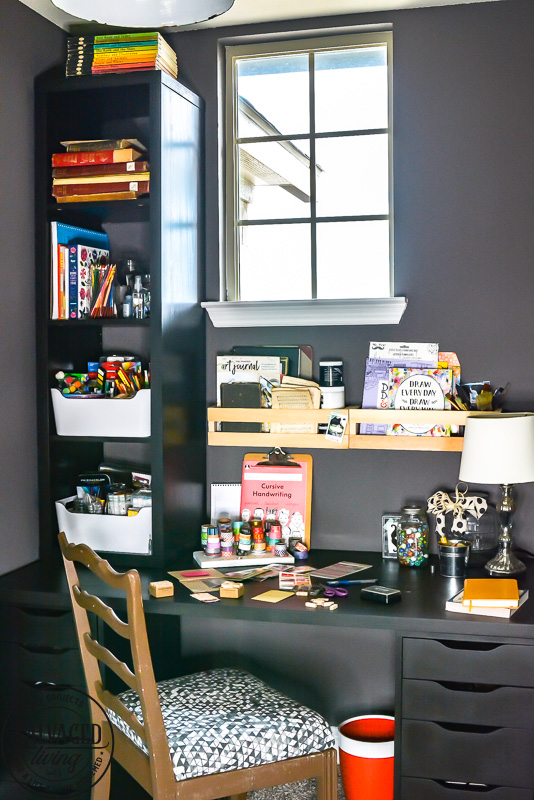 Creating a Small Creative Space in Your Home: Carve out a small craft room or craft area to let your creativity fourish. This is a great creative space idea for you to get inspiration from and make your own creative area in your home. #craftroom #creativespace #wherewomencreate