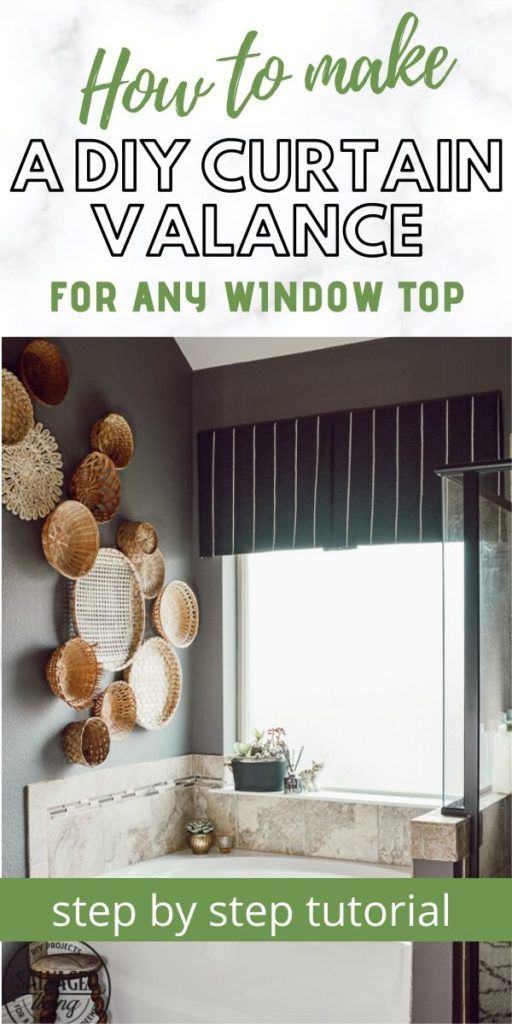 Step by step tutorial on how to make an easy DIY curtain idea! This window valance window topper is great for just about any window and any style decor you have. Make it your own with fun fabric, dropcloth, burlap or any other idea you might have. #curtaintutorial #curtainideas #diycurtain