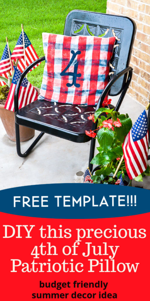 This 4th of July pillow is a cute DIY home decor project you can make for your summer home decor and fourth of July porch. #4thofJulydecor #patrioticdecor #summerDIYidea #freecutfile #freetemplate