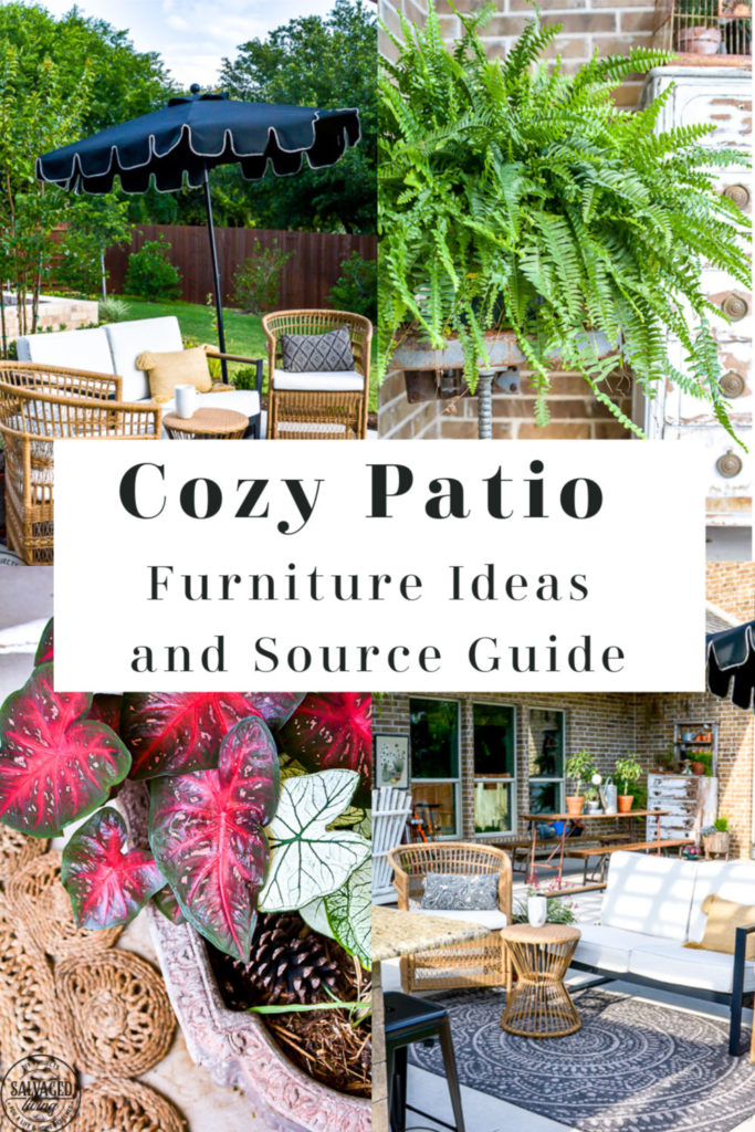 Create a charming and cozy patio area with these gorgeous patio furniture selections. You will love the mix of old and new for a vintage lived in feel for the perfect outdoor living area to your home! #patiofurniture #outdoorliving #cozypatio
