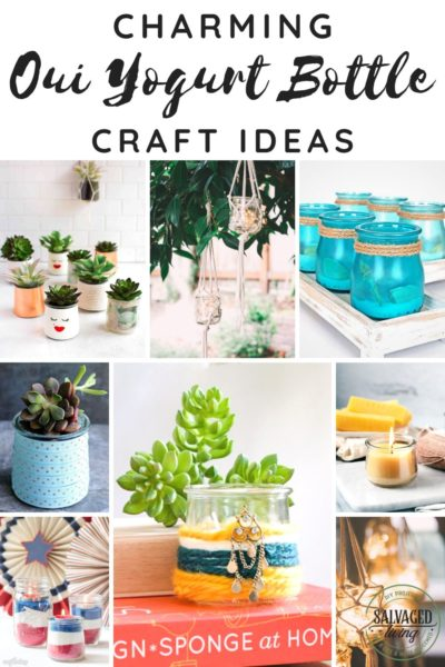 Gather a list of ideas to craft with your left over Oui yogurt jars. THESE INSPIRING Oui yogurt jar craft ideas will give you a ton of DIY project inspiration to tackle some budget friendly home decor accessories. #ouiyogurt #ouicraftideas #DIYaccessories