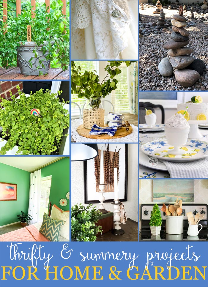 Thrifty home and garden ideas you will love. Easy DIY home decor for budget decorating ideas. #budgetdecor #cheapdecor #thriftedmakeover