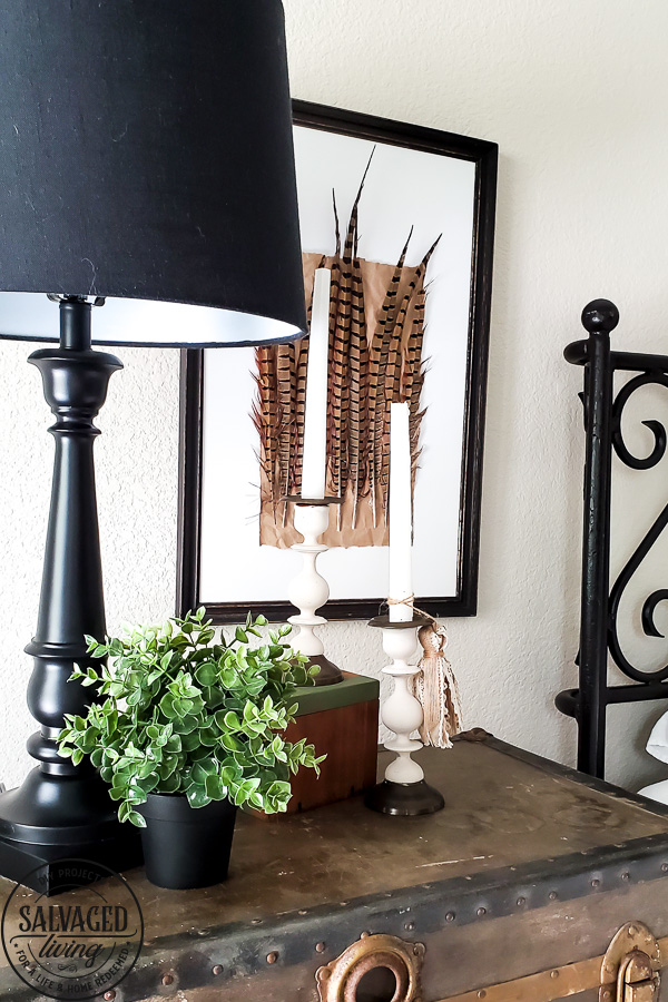 Try this easy update for your thrift store candlestick makeover. SUch a simple idea to update an old candlestick instead of tossing it for simple and classic DIY home decor. #diyhomedecor #thriftedmakeover #tassel