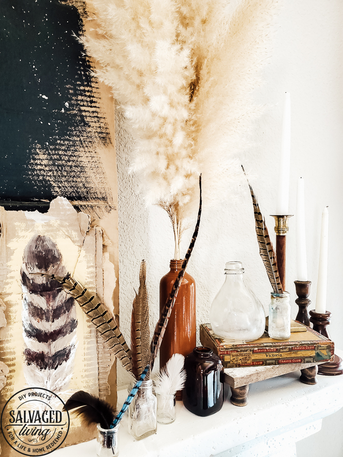 Watch this video on how to DIY paint feathers for fall using cardboard as your canvas. Get inspiring fall mantel decor ideas with this rustic fall look full of nature...feathers and pampas grass decor touches. #pampasgrass #falldecorideas #featherart