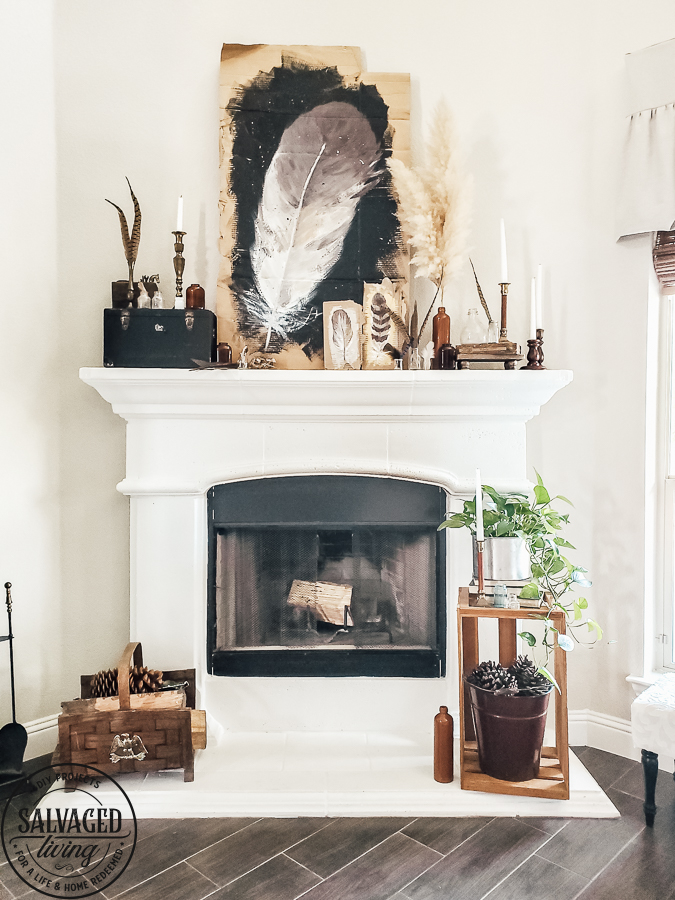 Watch this video on how to DIY paint feathers for fall using cardboard as your canvas. Get inspiring fall mantel decor ideas with this rustic fall look full of nature...feathers and Pampas Grass! #autumndecoridea #naturemantel #rusticstyleideas #modernvintagefall
