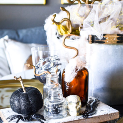 Midas Mansion Halloween Tablescape with Dollar Store Supplies