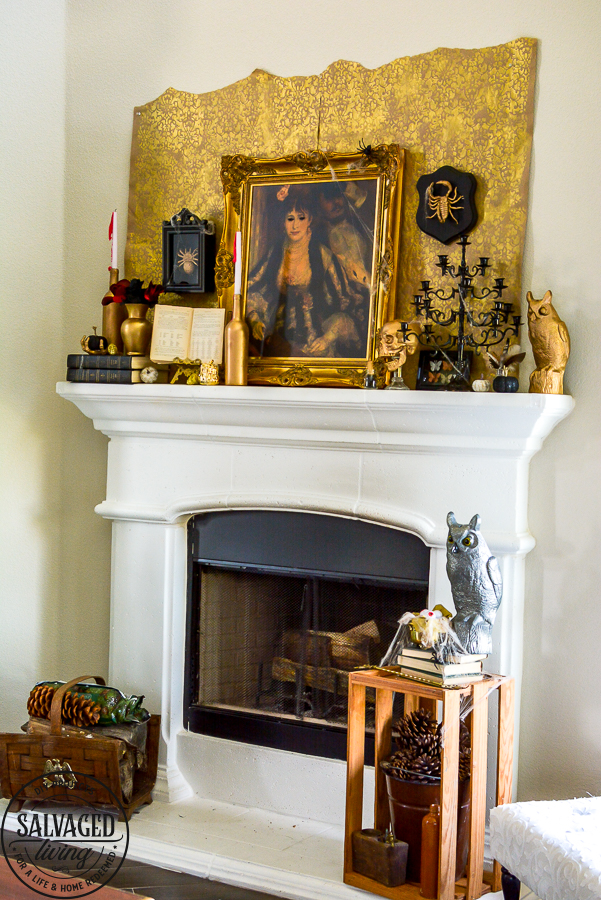 welcome to the Haunted Midas Mansion. These easy DIY Halloween mantel decoration ideas will inspire you to create an elegant Halloween home decor aesthetic that is a little bit vintage, kind of spooky and tons of fun. #indoorHalloween #Halloweendecorating #goldHalloweendecor