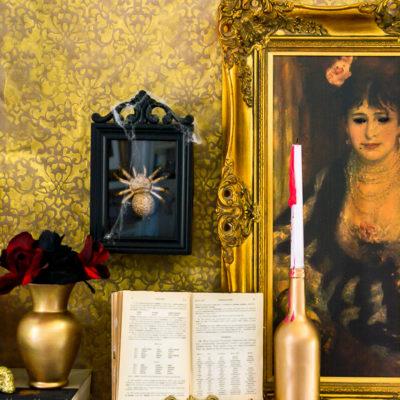 Haunted Midas Mansion DIY Halloween Mantel Decor