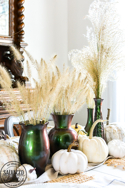 Are you wondering what to do with the floral glass vases you have hidden in your cabinet? Try this thrift store glass vase makeover. This DIY tutorial is easy and beautiful for a DIY glass vase centerpiece idea, great for fall decorating on a budget and creating home decor you can repurpose year round. #colorchange #thriftstoremakeover #glassvaseidea #glassmakeoverDIY