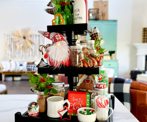 Get some fun and budget friendly Christmas hot chocolate bar ideas here! Everyone loves a good hot cocoa station for Christmas and the dollar store and Walmart are great spots for hot chocolate bar decor. Plus a few DIY projects to add to the mix! Have fun dressing up the perfect holiday beverage station! #hotchocolatebardideas #hotcocoabar #christmasdecorideas