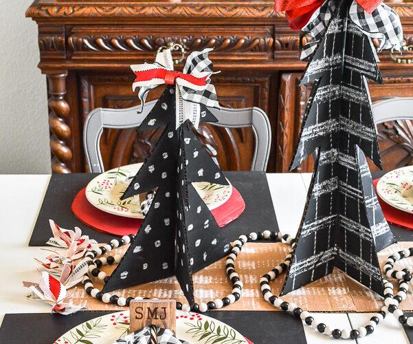 Chalkboard Christmas Trees From Cardboard