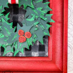 check out this old picture frame makeover for Christmas decorating using glitter spray paint for a beautiful holiday wall art project on a budget! #buffalocheckChristmas #framemakeover #DIYChristmas #handmadeChristmas