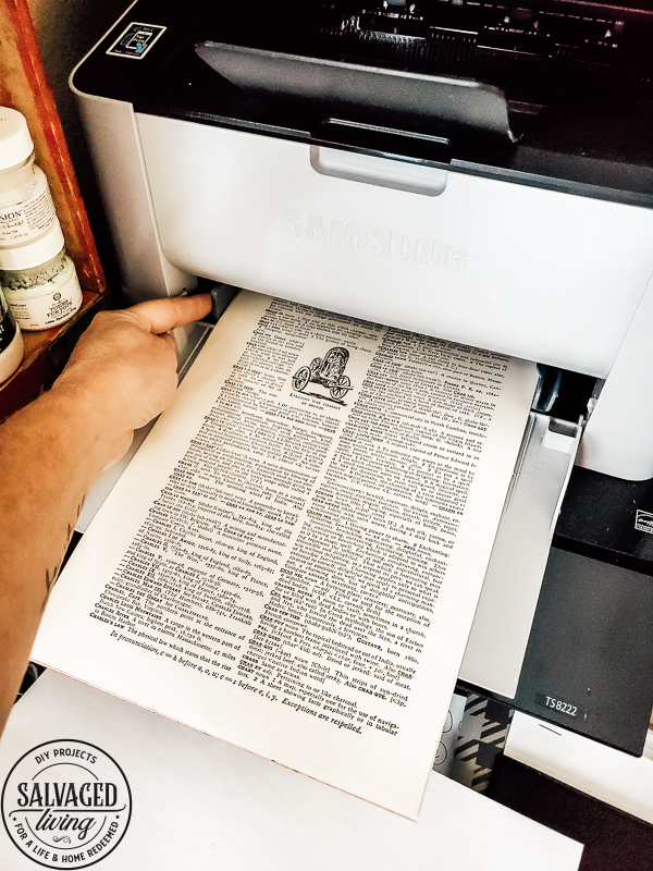 Learn how to print on old dictionary pages 4 up for small prints you can use in home decor or gifts. Perfect for DIY crafting and graphic art. #book pages #hymnalprints #Dictionarycraft #Bibleart