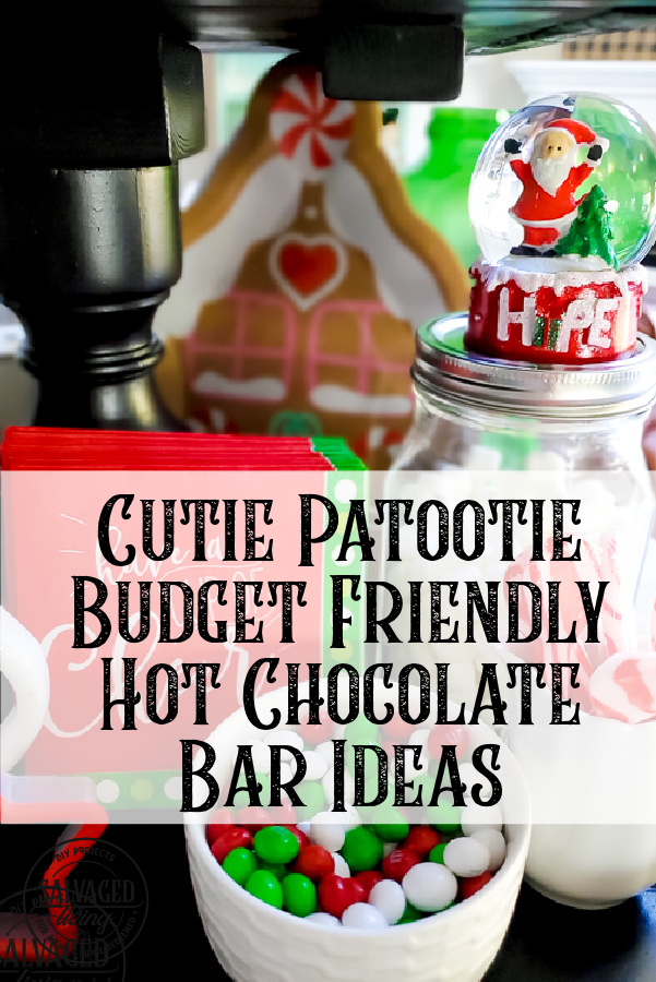 Get some cutie patootie budget friendly hot chocolate bar ideas from my DIY tiered tray hot cocoa station! I'll show you how to decorate your hot chocolate bar and where to get items for your cocoa bar. We've had so much fun with it this holiday season! #hotchocolatebar #budgetdecoratingforChristmas #cocostation