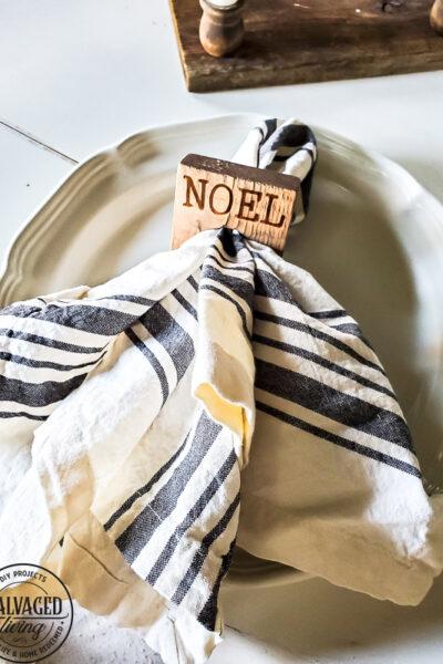 DIY rustic napkin rings for Christmas table setting