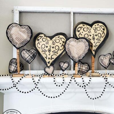 Repurposed Spindle Stand for Valentine's Day Mantel