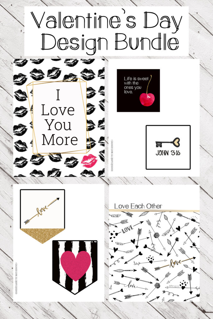 How to make cute printable Valentine's Day decor like this printable Valentine's Day banner, this Valentine garland is great for your black and white and gold Valentine's color scheme. Get printable art, cards, crafts and banner pieces in this Valentine's Day printable bundle pack. #Valentinesdayprints #valentinesdaycraft #valentinesdaydecoratinideas