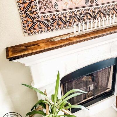 Stone Fireplace Mantel to DIY Wood Mantel