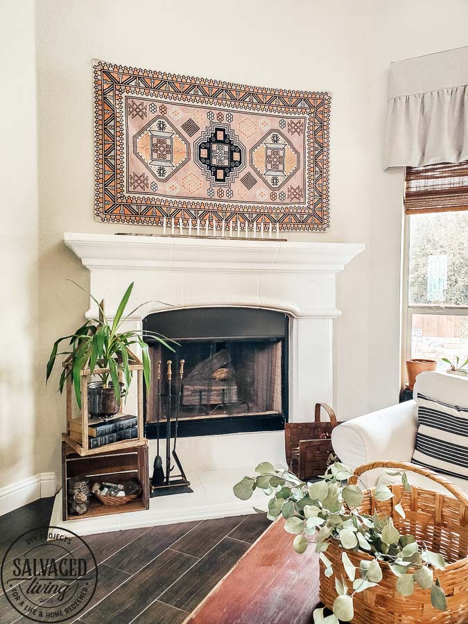 how to make your own DIY fireplace insert custom to fit your fireplace and stop those nasty drafts. Plus this fireplace screen is so pretty in the non winter months when you don't burn a fire in your fireplace! Plus you get a tutorial on how to make things rust. I love a rusty transformation. #DIYrust #firplaceinsert #fireplacescreen #summerfireplace