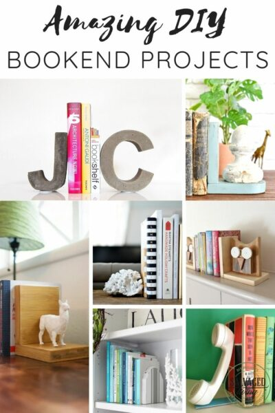 collage of 7 diy bookend projects with text overlay