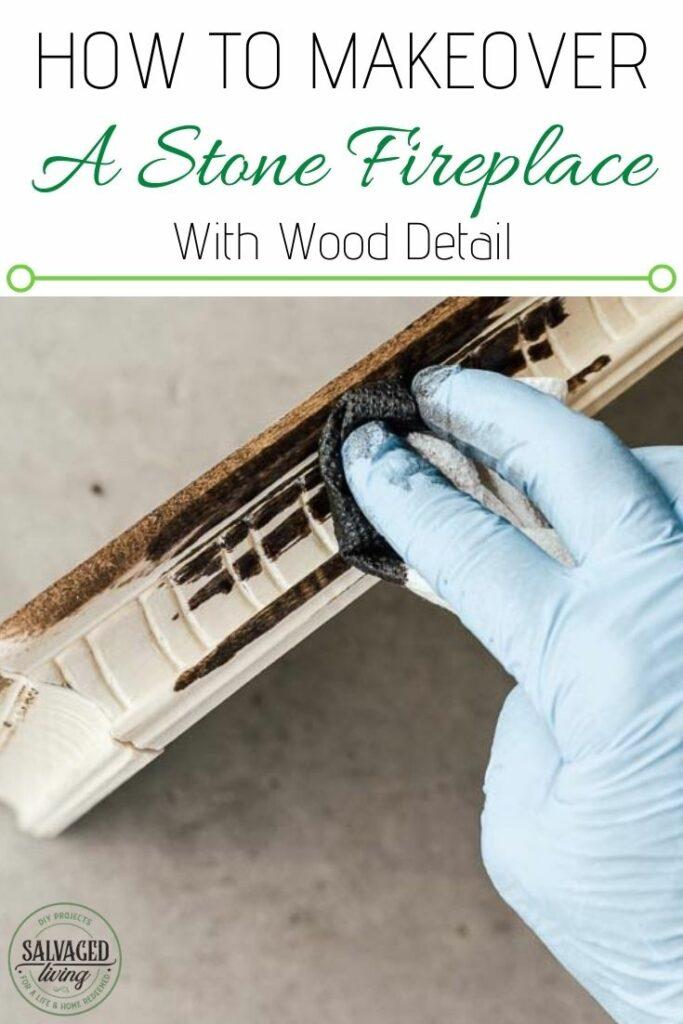 staining wood mantel