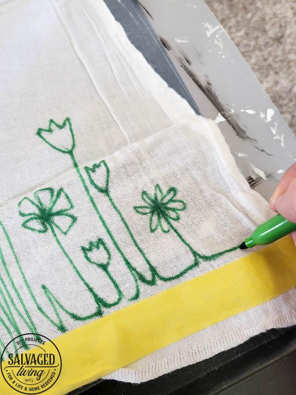 using sharpie to draw on tea towel