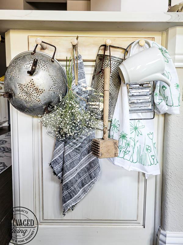 sharpie art tea towel shown hanging on rack in kitchen