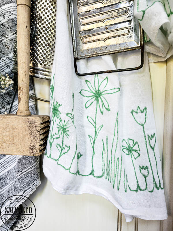 hanging sharpie art tea towel