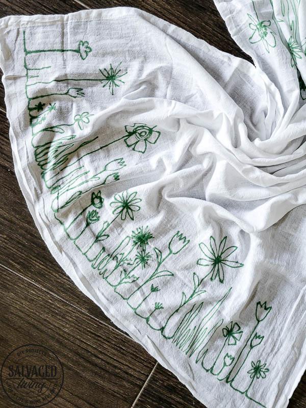 sharpie art tea towel on table