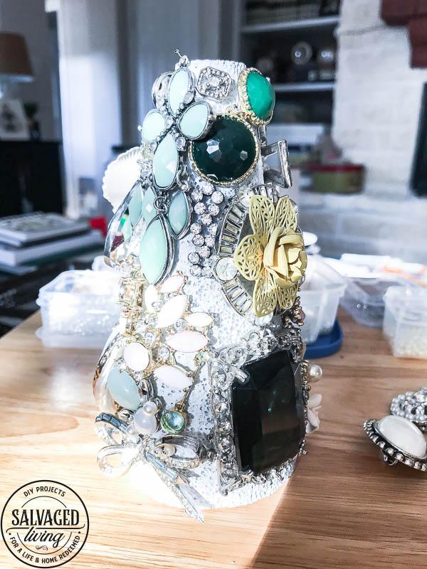 close up of jewelry tree