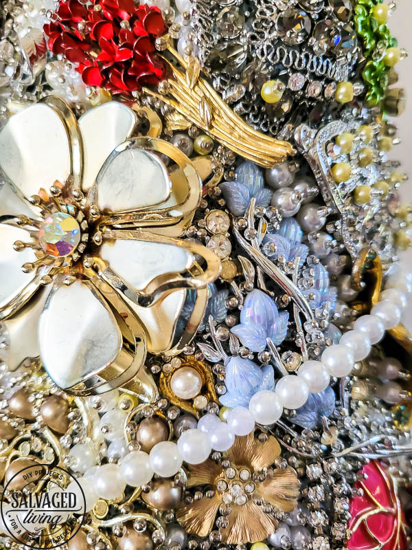 close up of vintage jewelry tree