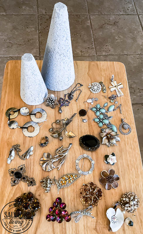 supplies for DIY VINTAGE JEWELRY TREE