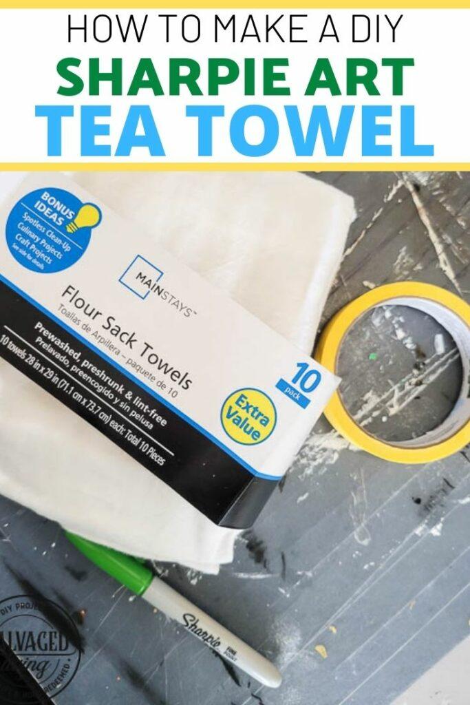 diy sharpie art tea towel with text overlay