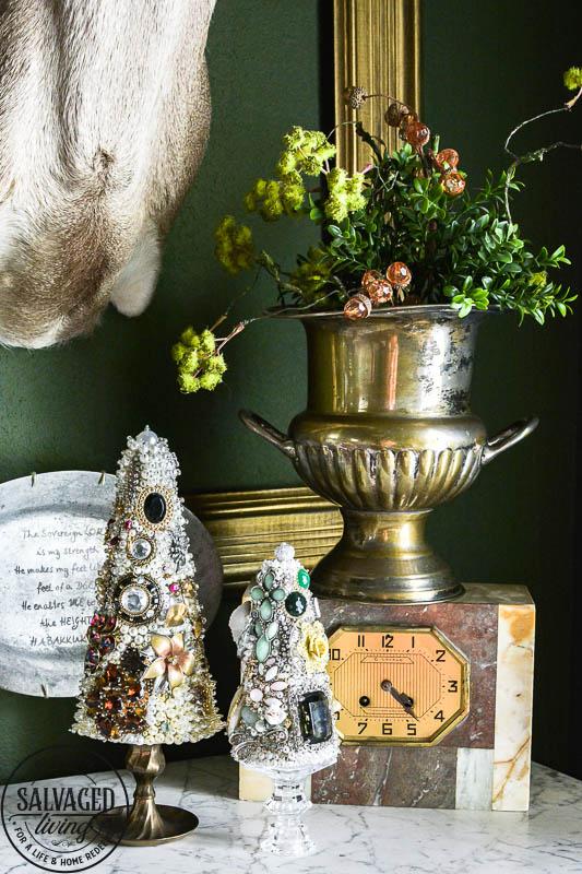 vintage jewelry tree in vignette