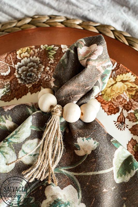 wood bead napkin rings around napkins