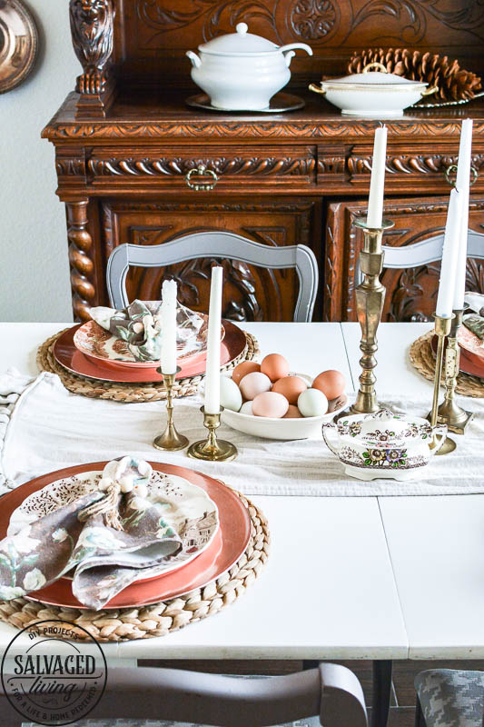 Wood Bead Napkin Rings on dining room tablescape
