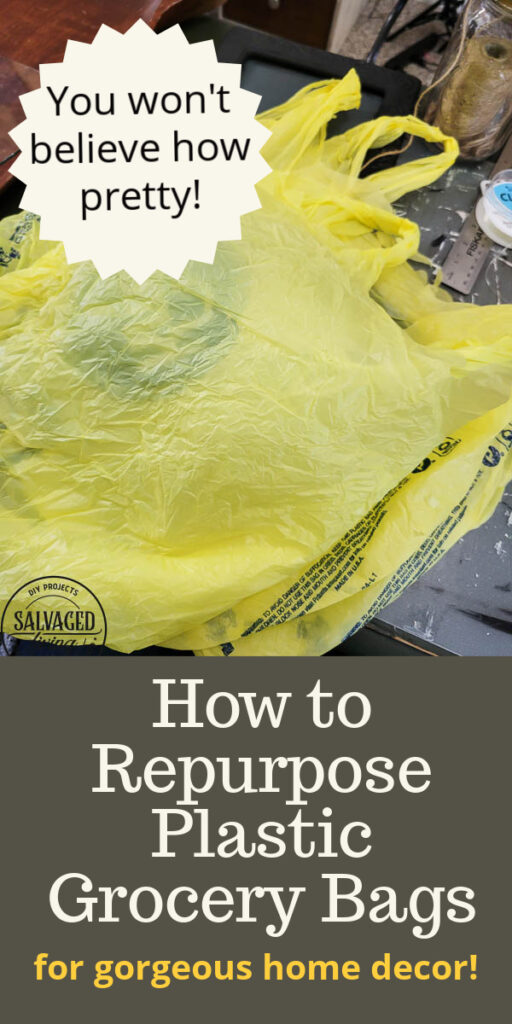 How to make adorable plastic grocery sack flowers for decorating your home on a budget. This plastic bag craft is so easy to make, budget friendly and gorgeous. No one will ever know you make these beautiful faux flowers from plastic bags! #grocerybagmakeover #plasticbagcraft #DIYfauxflower #budgetdecorideas