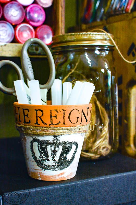 Stamped Terra Cotta Pot with craft supplies
