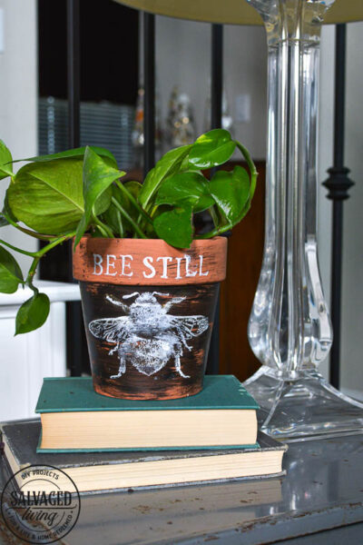 Stamped Terra Cotta Pot with bumblebee