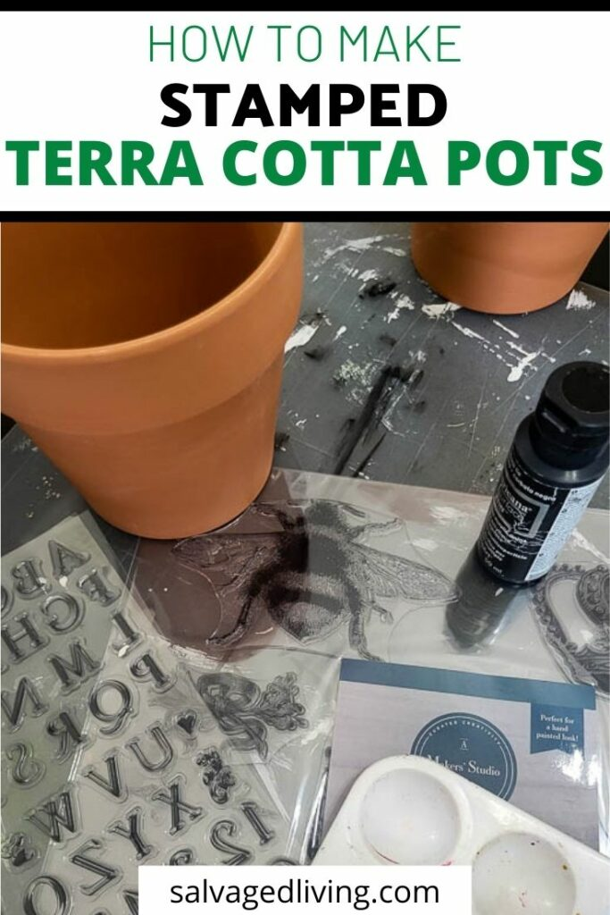 How To Make A Super Cute Stamped Terra Cotta Pot pin image