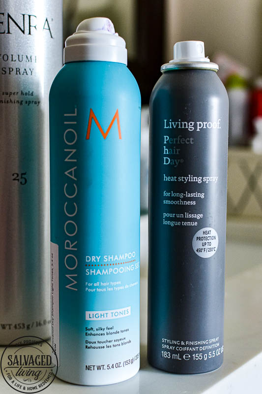 Best hair care products for fin, thin, color-treated hair. These are my favorite hair care products when it comes to shampoo, conditioner, styling and general hair care. This is how I stopped washing my hair everyday and the details on how to wash your hair once a week if it is fine and limp like mine. #haircaretips #finehair #washweeklyhair #dryshampoo