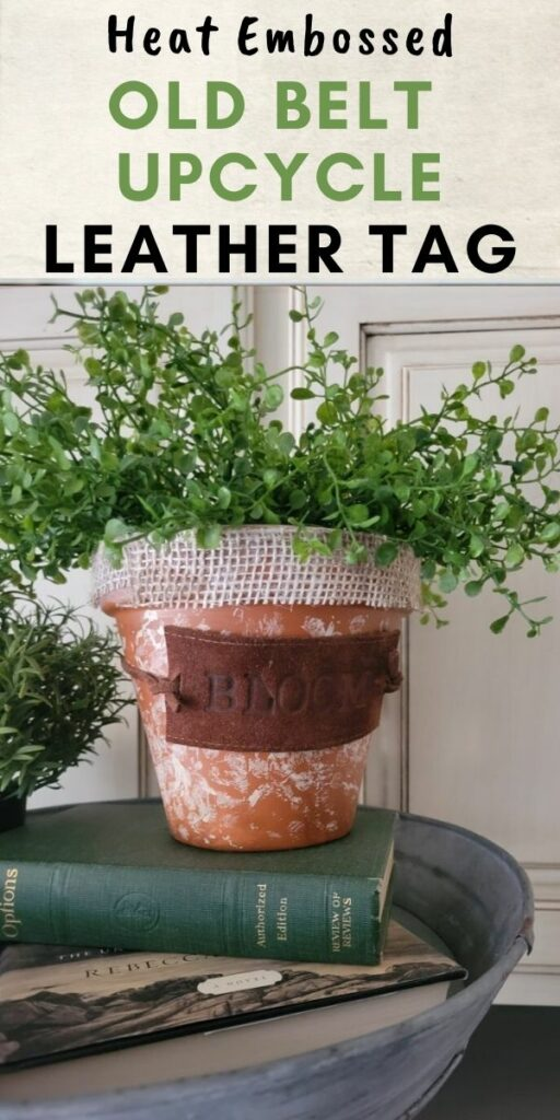 terra cotta pot with old belt upcycle leather tag